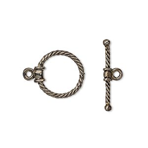 clasp, toggle, gunmetal-plated brass, 15x14mm twisted round. sold individually.