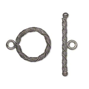 clasp, toggle, gunmetal-plated copper, 18mm textured round with twist. sold per pkg of 4.