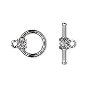 clasp, toggle, gunmetal-plated pewter (zinc-based alloy), 14mm smooth round with flower. sold per pkg of 100.