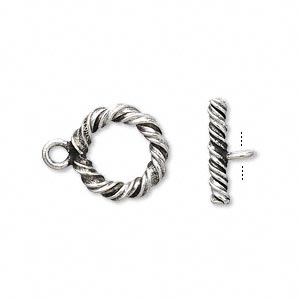 clasp, toggle, hill tribes, antiqued fine silver, 14mm twisted rope round. sold individually.