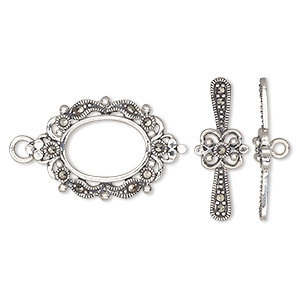clasp, toggle, marcasite (natural) and sterling silver, 27x17mm fancy oval. sold individually.