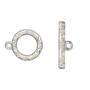 clasp, toggle, silver-finished pewter (zinc-based alloy), 17mm single-sided round with vine and flower design. sold per pkg of 8.