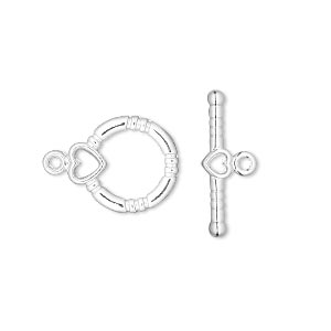 clasp, toggle, silver-plated brass, 14x13mm round with heart. sold per pkg of 10.