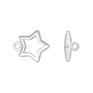 clasp, toggle, silver-plated brass, 15mm star. sold per pkg of 10.