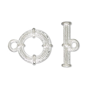 clasp, toggle, silver-plated brass, 16mm banded round. sold per pkg of 100.