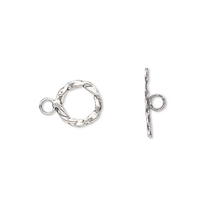 clasp, toggle, sterling silver, 10mm twisted flat round. sold per pkg of 2.