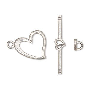 clasp, toggle, sterling silver, 17x15mm heart. sold individually.