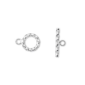 clasp, toggle, sterling silver, 9mm twisted ribbed round. sold per pkg of 2.