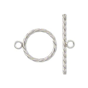 clasp, toggle, sterling silver-filled, 17mm twisted round. sold individually.