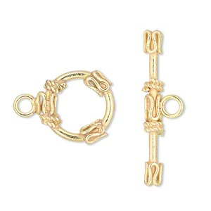 clasp, toggle, vermeil, 16mm round with swirl accent. sold individually.