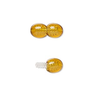 clasp, twist-in, plastic, amber brown, 16x7mm double oval. sold per pkg of 4.
