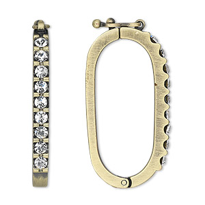 clasp, twister with safety, swarovski crystals and antique gold-plated pewter (zinc-based alloy), crystal clear, 35x18mm oval. sold individually.