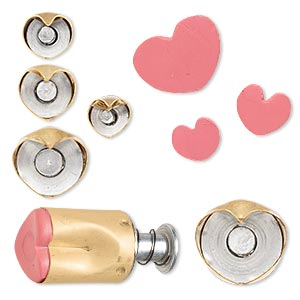 clay cutter, kemper, brass, 10x9mm-20.5x16.5mm assorted heart with built in pop-out tool. sold per 5-piece set.