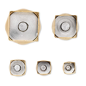 clay cutter, kemper, brass, 9mm-20mm assorted square with built-in pop-out tool. sold per 5-piece set.