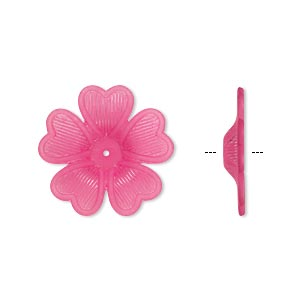 component, acrylic, frosted fuchsia, 42x7mm flower. sold per pkg of 25.