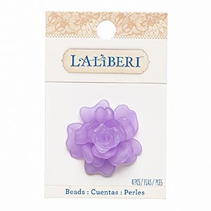 component, acrylic, frosted purple, 15x15mm-40x40mm assorted rose. sold per 4-piece set.