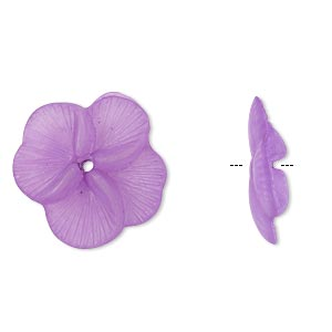 component, acrylic, translucent frosted violet, 20x5mm flower. sold per pkg of 100.