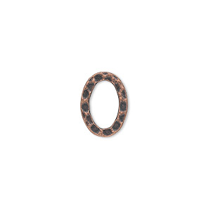 component, antique copper-plated steel, 14x10mm double-sided hammered open flat oval. sold per pkg of 12.