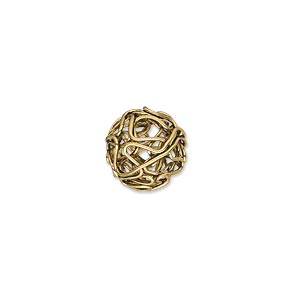 component, antique gold-finished pewter (zinc-based alloy), 12mm twisted wire ball. sold per pkg of 10.
