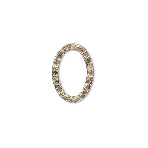 component, antique gold-plated steel, 18x13mm double-sided hammered flat oval. sold per pkg of 12.