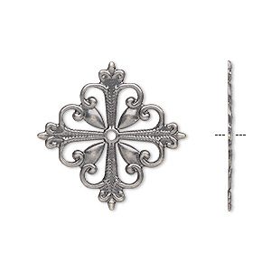 component, antique silver-plated brass, 19x19mm fancy square with cutout design. sold per pkg of 6.