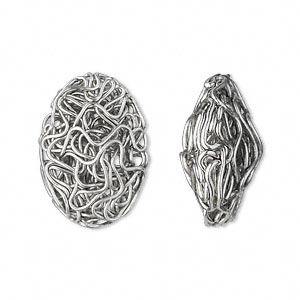 component, antique silver-plated pewter (zinc-based alloy), 22x16mm twisted wire oval. sold per pkg of 10.