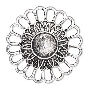 component, antique silver-plated pewter (zinc-based alloy), 38mm single-sided flower with 12mm round setting. sold per pkg of 2.