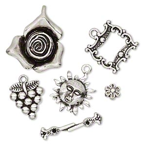 component, antiqued silver-finished pewter (zinc-based alloy), 6.5x4mm-28x23.5mm assorted garden theme. sold per 5-piece set.