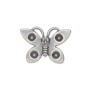 component, antiqued silver-plated steel, 25x18mm single-sided butterfly with (4) pp31 settings. sold per pkg of 24.