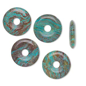 component, blue sky jasper (dyed / stabilized), 20mm round donut, c grade, mohs hardness 6-1/2 to 7. sold per pkg of 4.