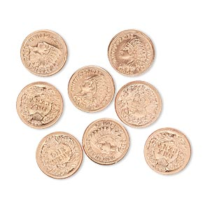 component, copper, 10mm american indian head penny coin replica with 1903. sold per pkg of 8.