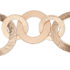component, copper, 16-27mm graduated brushed flat round and 35x27mm brushed flat oval, 7-1/2 inches. sold individually.