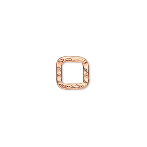 component, copper-plated steel, 10x10mm double-sided hammered open square. sold per pkg of 12.