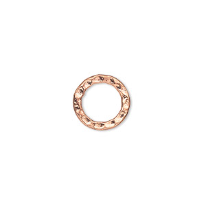 component, copper-plated steel, 12mm double-sided hammered open round. sold per pkg of 12.
