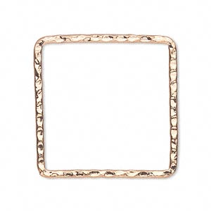 component, copper-plated steel, 28x28mm double-sided hammered open square. sold per pkg of 8.