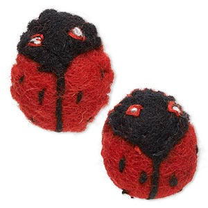 component, felt and cotton, red / black / white, 28x27mm undrilled ladybug. sold per pkg of 2.
