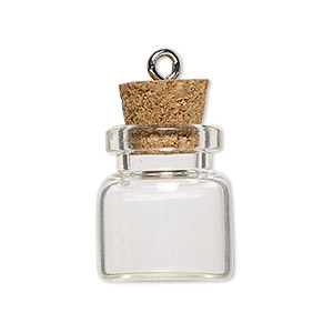component, glass / cork / nickel-finished steel, clear, 20x19mm bottle with stopper and screw eye. sold per pkg of 10.