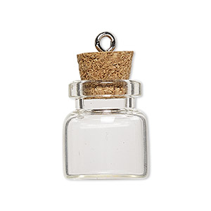 component, glass / cork / nickel-finished steel, clear, 20x19mm bottle with stopper and screw eye. sold per pkg of 100.