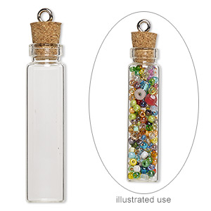 component, glass / cork / nickel-finished steel, clear, 45x11mm bottle with stopper and screw eye. sold per pkg of 10.
