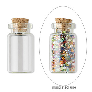 component, glass and cork, clear, 38x19mm-40x22mm bottle with stopper and 12mm opening. sold per pkg of 10.