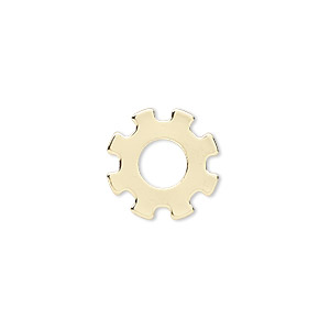 component, gold-finished steel, 15mm gear with 6mm center hole. sold per pkg of 10.