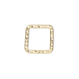 component, gold-plated steel, 16x16mm double-sided hammered flat open square. sold per pkg of 10.