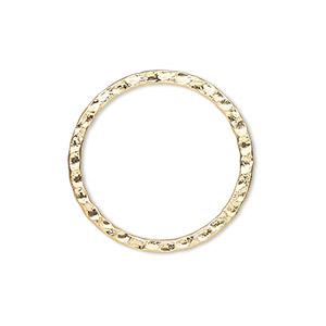 component, gold-plated steel, 25mm double-sided hammered flat open round. sold per pkg of 10.