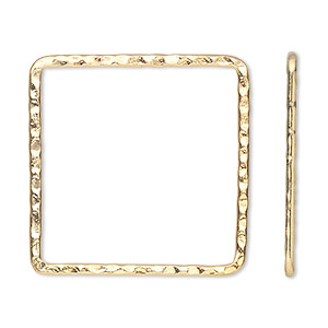 component, gold-plated steel, 28x28mm double-sided hammered flat open square. sold per pkg of 8.