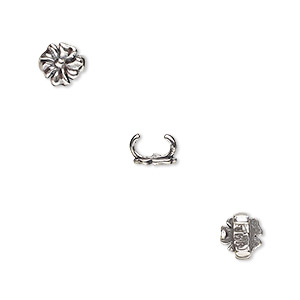 component, jbb findings, antique silver-plated brass, 6.5x6.5mm flower, 5x2mm inside diameter. sold per pkg of 2.