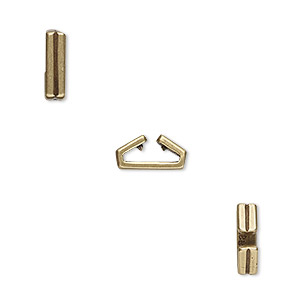 component, jbb findings, antiqued brass, 10x3mm rectangle with lines, 8x1mm inside diameter. sold per pkg of 2.