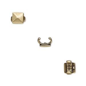 component, jbb findings, antiqued brass, 6x6mm faceted square, 5x2mm inside diameter. sold per pkg of 2.