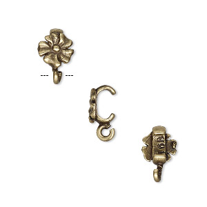 component, jbb findings, antiqued brass, 6x6mm flower with open loop, 5x2mm inside diameter. sold per pkg of 2.
