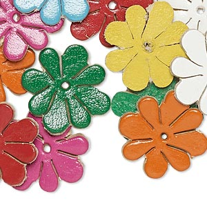 component, leather (dyed), assorted colors, 18x18mm flower. sold per pkg of 16.