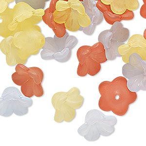 component mix, acrylic, translucent frosted dark pink / yellow / light blue, 11x7mm flower. sold per pkg of 120.